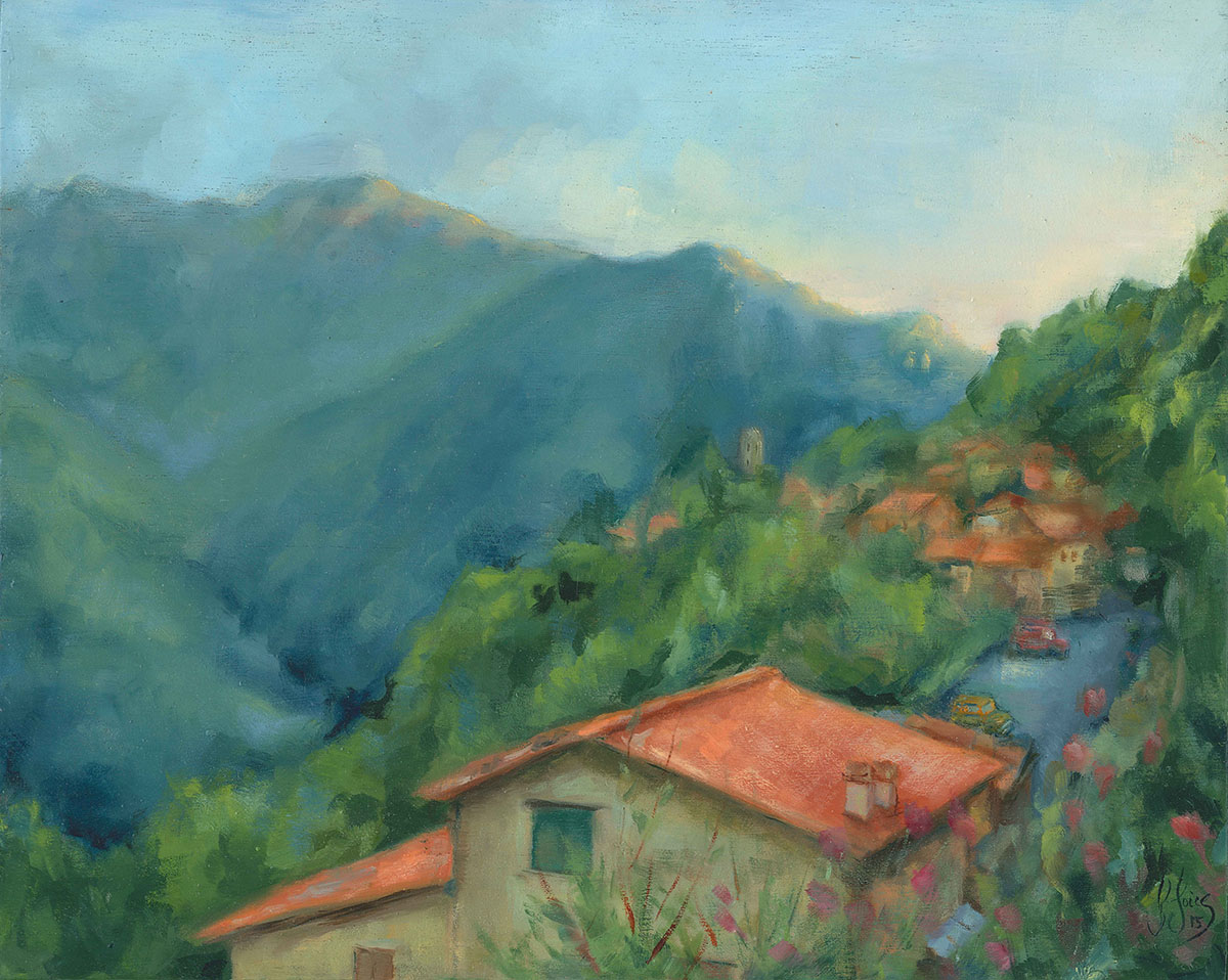 Belvedere Nera Simi at Dusk, Stazzema - Oil on wood - 30 x 20 cm