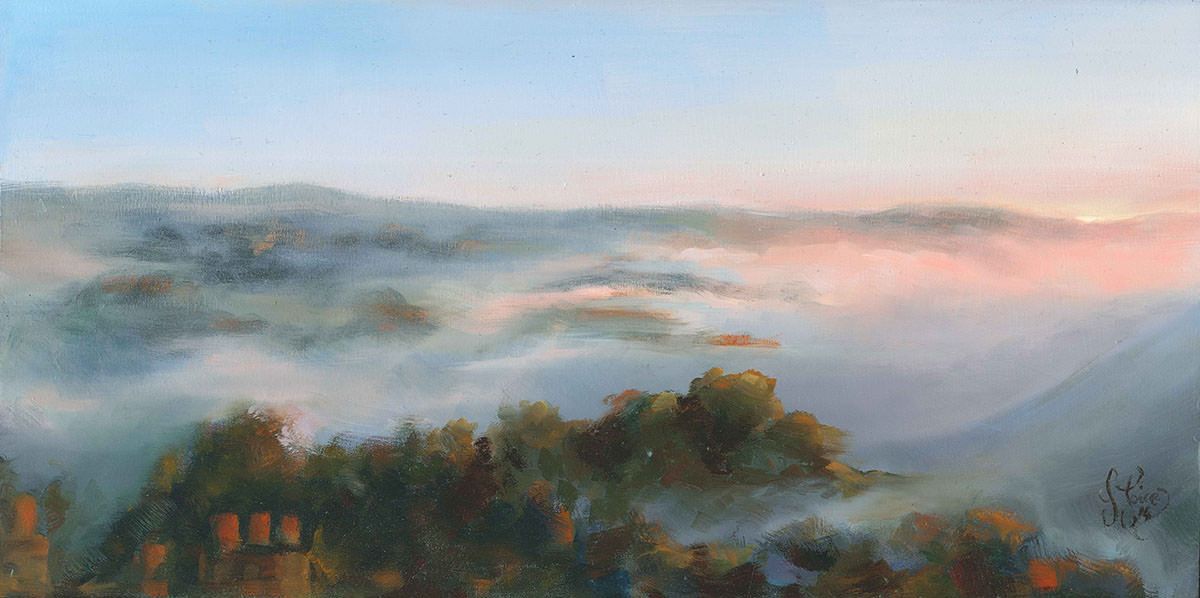 Early Morning Mist 2 - Oil on wood - 40 x 20 cm