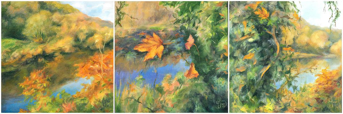 Autumnal Reflections on the River Wye 1,2 + 3 - Oil on wood - 20 x 20 cm x 3